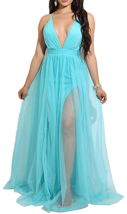 Amazon.com: Womens Sexy Deep V-Neck Strap Backless Bodycon Party Club High Split Mesh Dress (M, Blue): Clothing