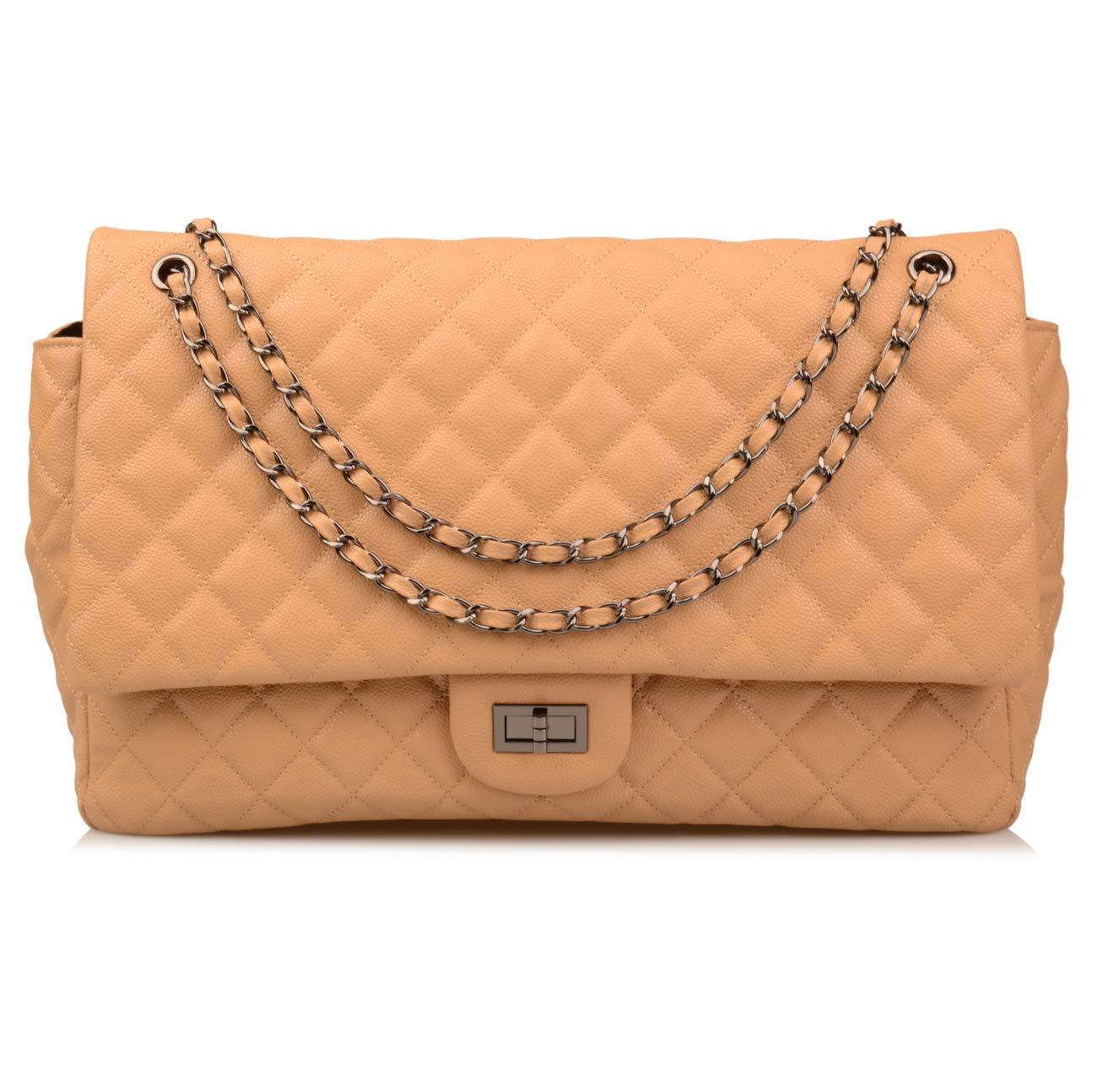 Ainifeel Women's Genuine Leather Oversize Quilted Flap Handbag Large Travelling Tote Bag Luggage Holdall (Oversize, Apricot (gunmetal hardware))