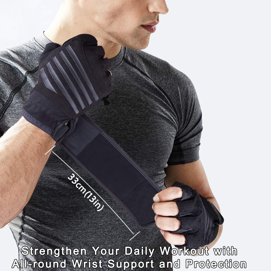 Hually Trainingshandschuhe Fitness Handschuhe mit Handgelenkst/ütze Krafttraining Sporthandschuhe f/ür Damen Herren rutschfest /& Atmungsaktiv Gewichtheben Handschuhe f/ür Radfahren Bodybuilding