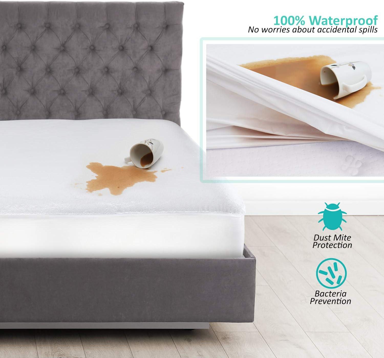 Nestl Bedding Deep Pocket Cotton Terry Mattress Protector, Queen Hypoallergenic Mattress Cover, Waterproof Mattress Protector, White