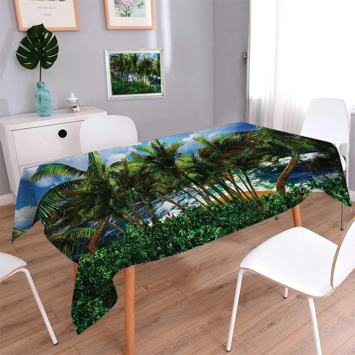 Anmaseven Hawaiian Rectangle Washable Tablecloth Hawaii Island Palm Trees Forest Greenery Cloudy Summer Sky Sunlight Seascape Waterproof Tablecloths Green Blue Brown Size: W60 x L120