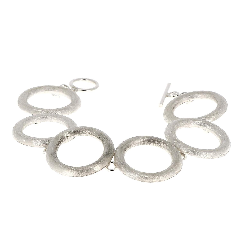Bracelet en Argent brossé Six Anneaux reliés