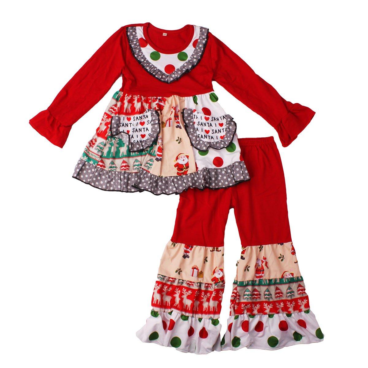 belababy Girl Christmas Pajamas Set Pure Cotton Red Santa, 2T
