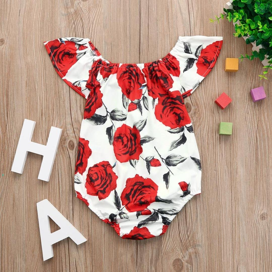 Newborn Baby Girls Off Shoulder Flare Sleeve Full Floral Print Romper Jumpsuit Outfits