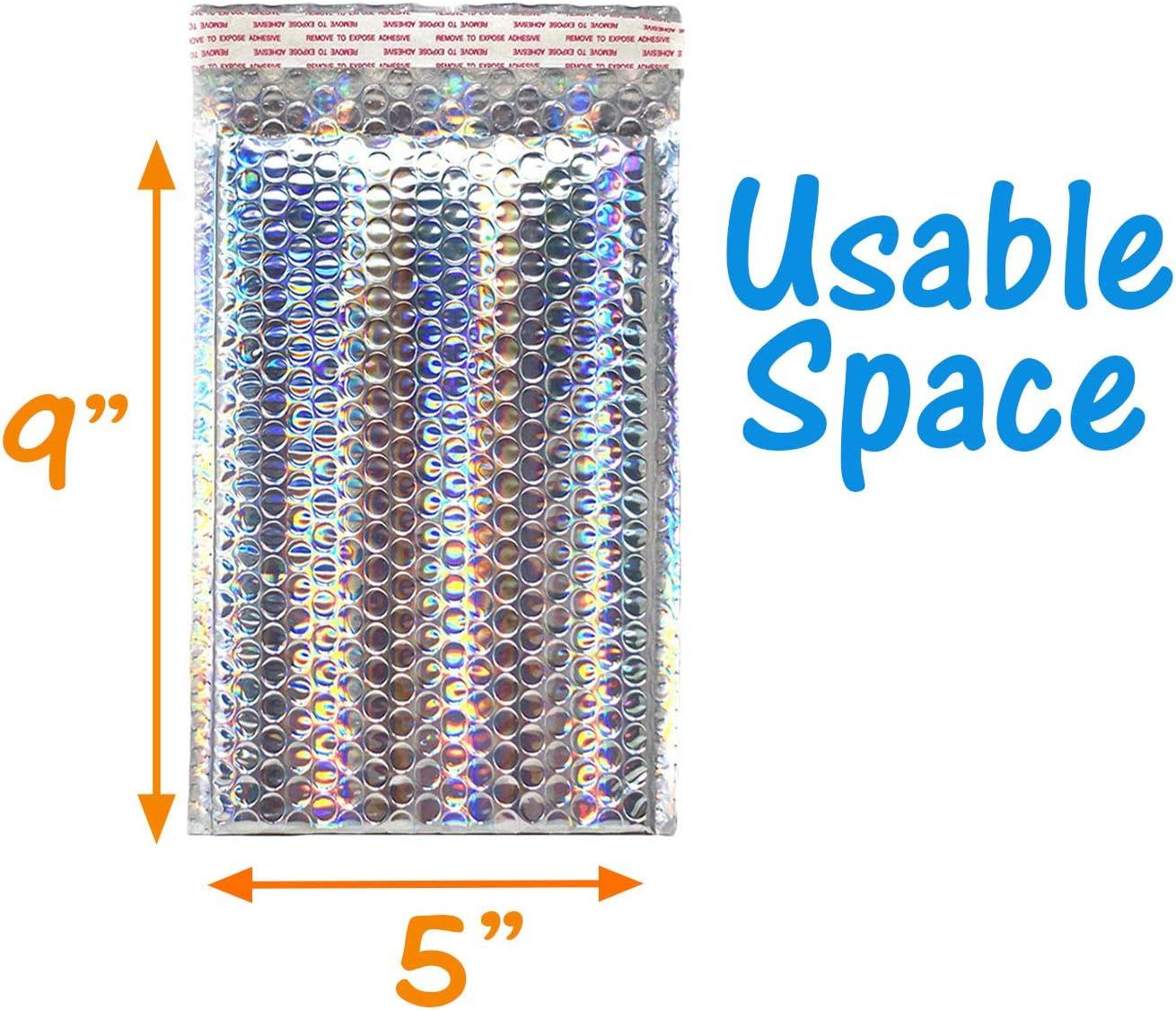 Sobres holográficos de burbujas de 6 x 10, 8,5 x 12, 5 x 9, 7 x 11, con cojín metálico y pegatinas