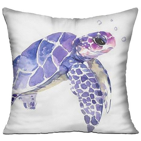 Púrpura mar tortuga manta decorativa Funda de almohada ...