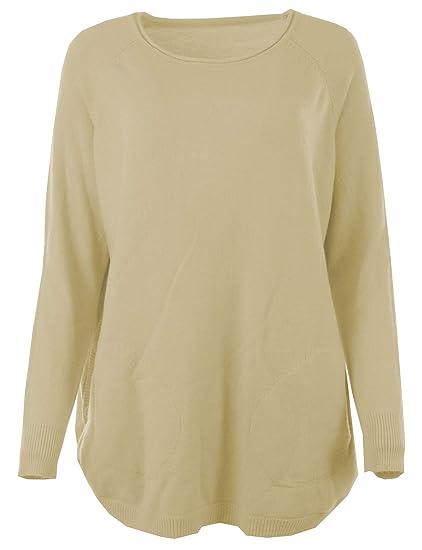 1f84434ac80 Gracious Girl Women Italian Angora Wool Curve Rib Button Hem Long Sleeved  Jumper Top Beige One