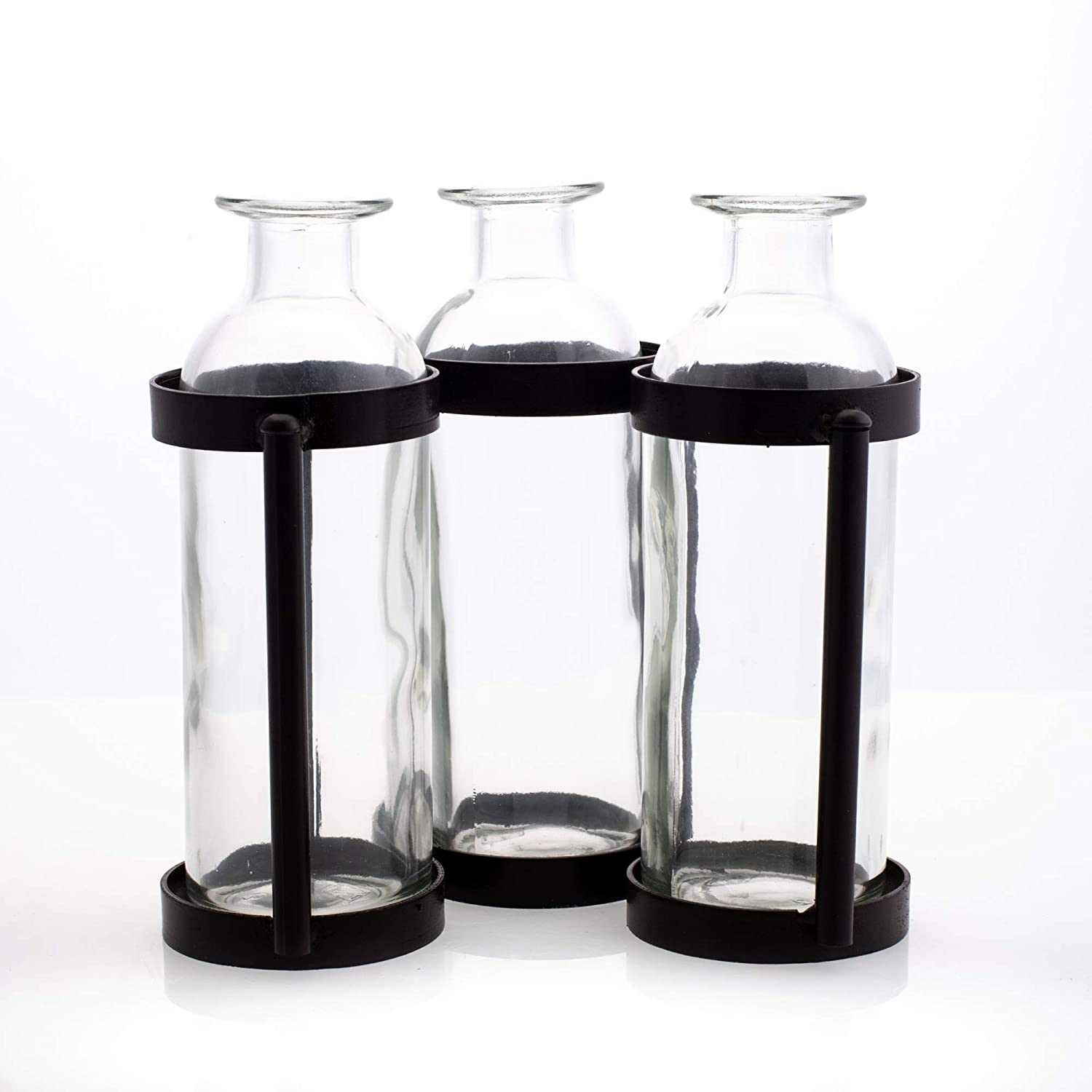 Sullivans Metal and Glass Vase Stand 6.5 Tall x 10 Long G6505