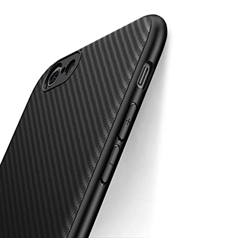 J Jecent Funda iPhone 6 Funda iPhone 6s [Textura Fibra de Carbono] Carcasa Ligera Silicona Suave TPU Gel Bumper Case Cover de Protección ...