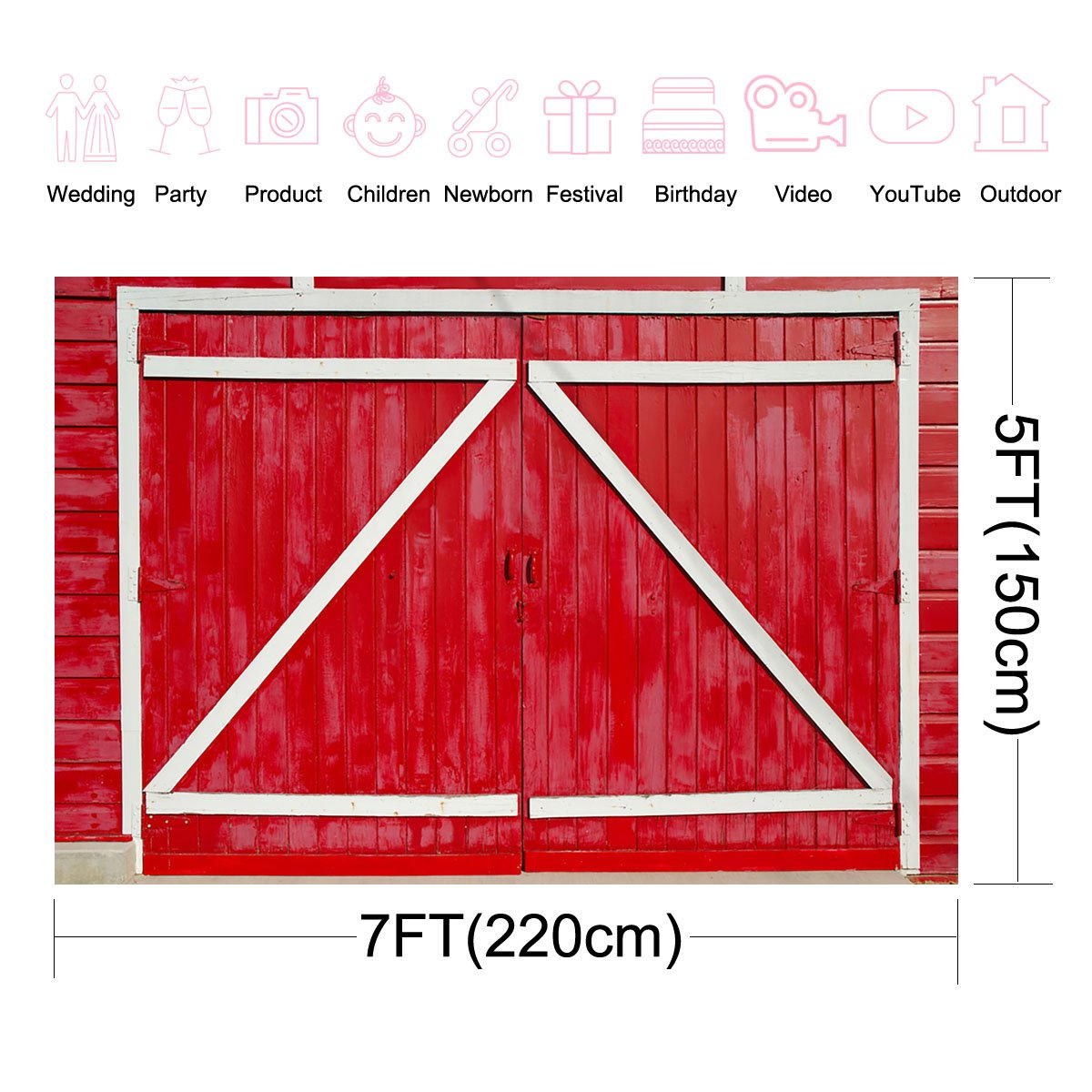Amazon Com Mehofoto Red Barn Door Backdrops 7x5ft White And Red
