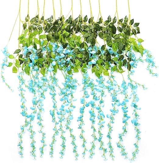 TRvancat Artificial Wisteria Hanging Vine 12 Pack 3.6FT//pcs Fake Silk Flower...