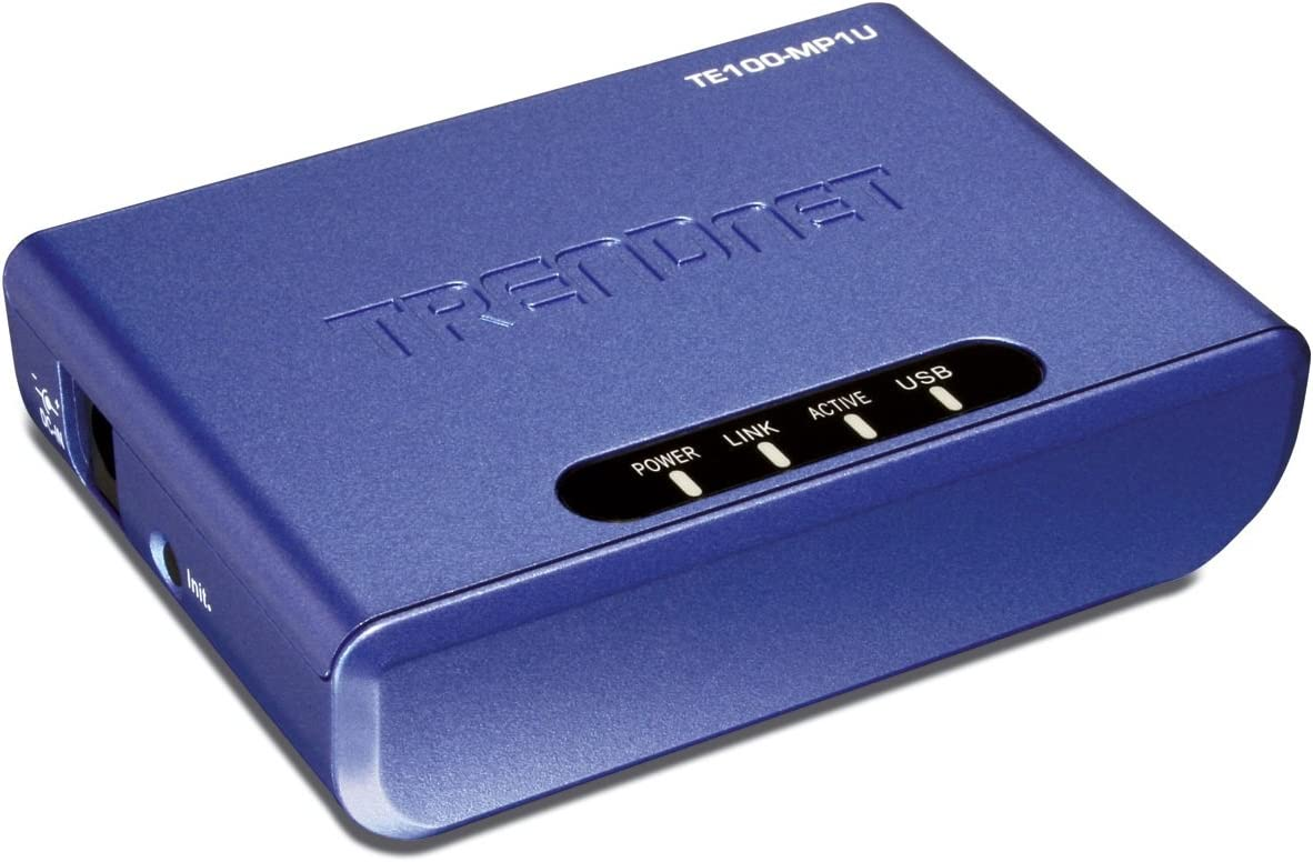Blue TRENDnet 1-Port Multi-Function Print Server TE100-MP1U