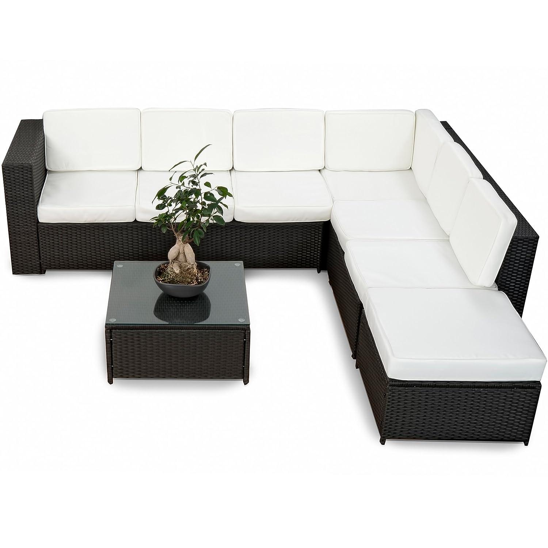 Deluxe Lounge Garnitur Set Gruppe Polyrattan Sitzgruppe Gartenmöbel  Loungemöbel   Handgeflochten   Schwarz Von XINRO®