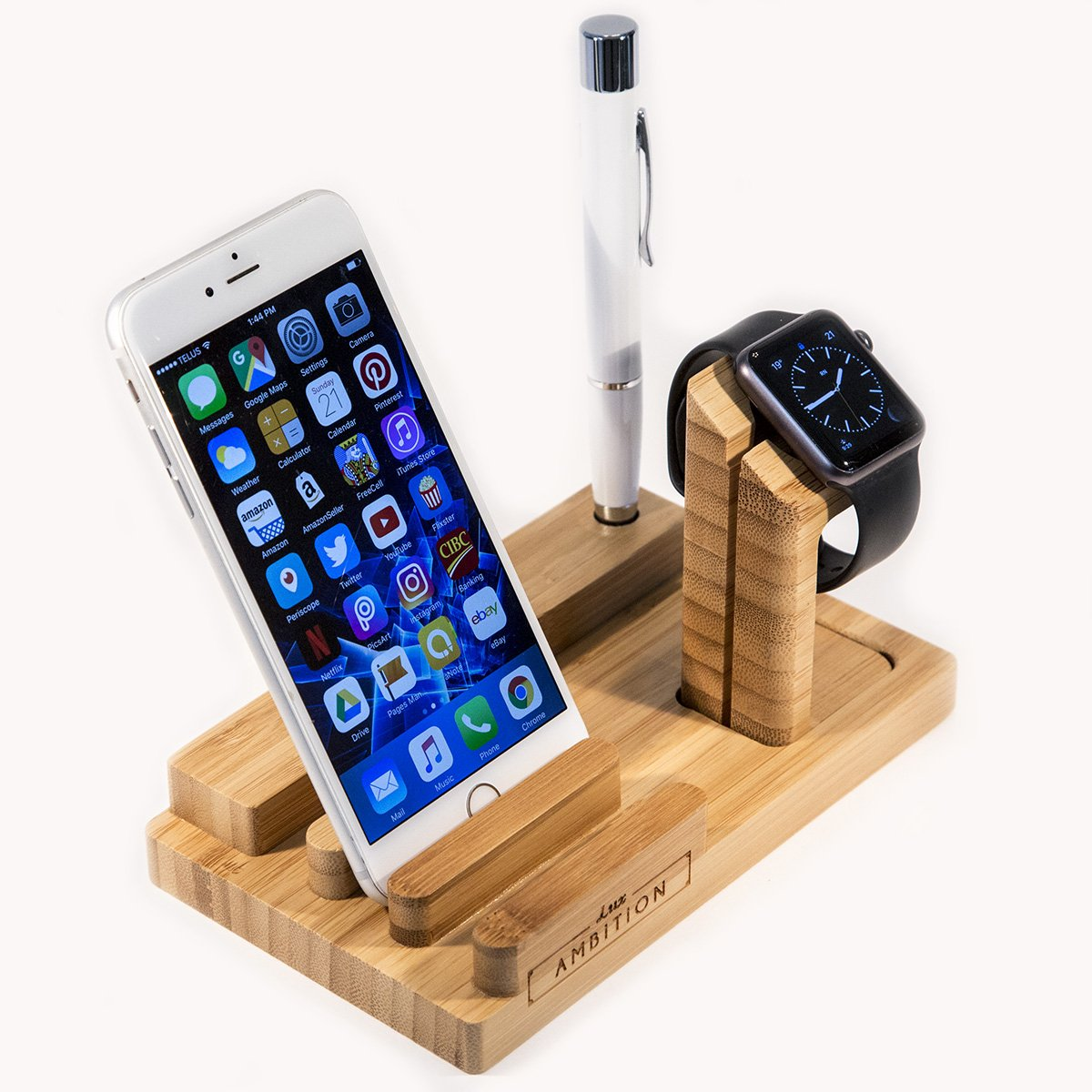 Lux Ambition Apple Watch Stand with Wood Charging Station Wooden Dock 3 in 1 Bamboo Bracket Desk Holder for iPhone Iwatch Ipad