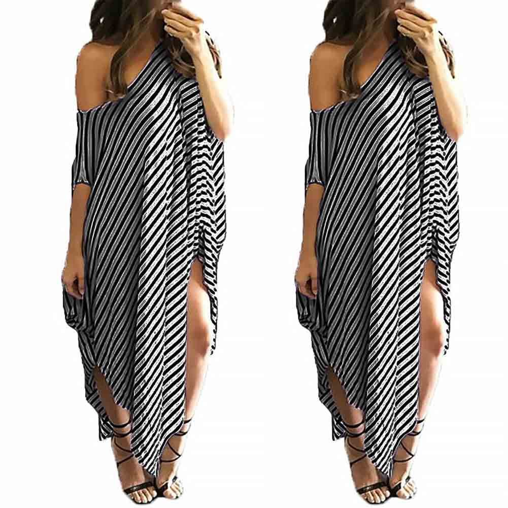 40a5464c743 OppaaL Women Asymmetrical Striped Long Dress Casual Oversized Round Neck  Sundress at Amazon Women s Clothing store