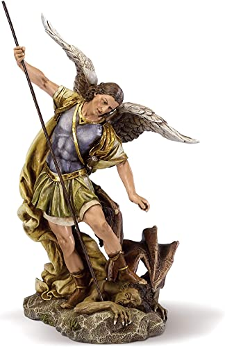 Joseph s Studio by Roman – St. Michael Figure on Base, 10 Scale Renaissance Collection, 12 H, Resin and Stone, Religious Gift, Decoration