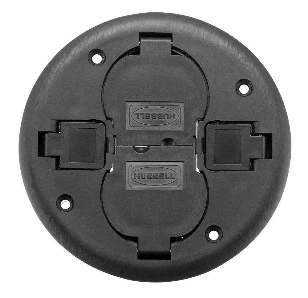 Hubbell Wiring Systems PT2X2CBL Fire-Rated Poke-Through Non-Metallic Replacement Cover, 7'' Diameter x 0.58'' Thick, Black
