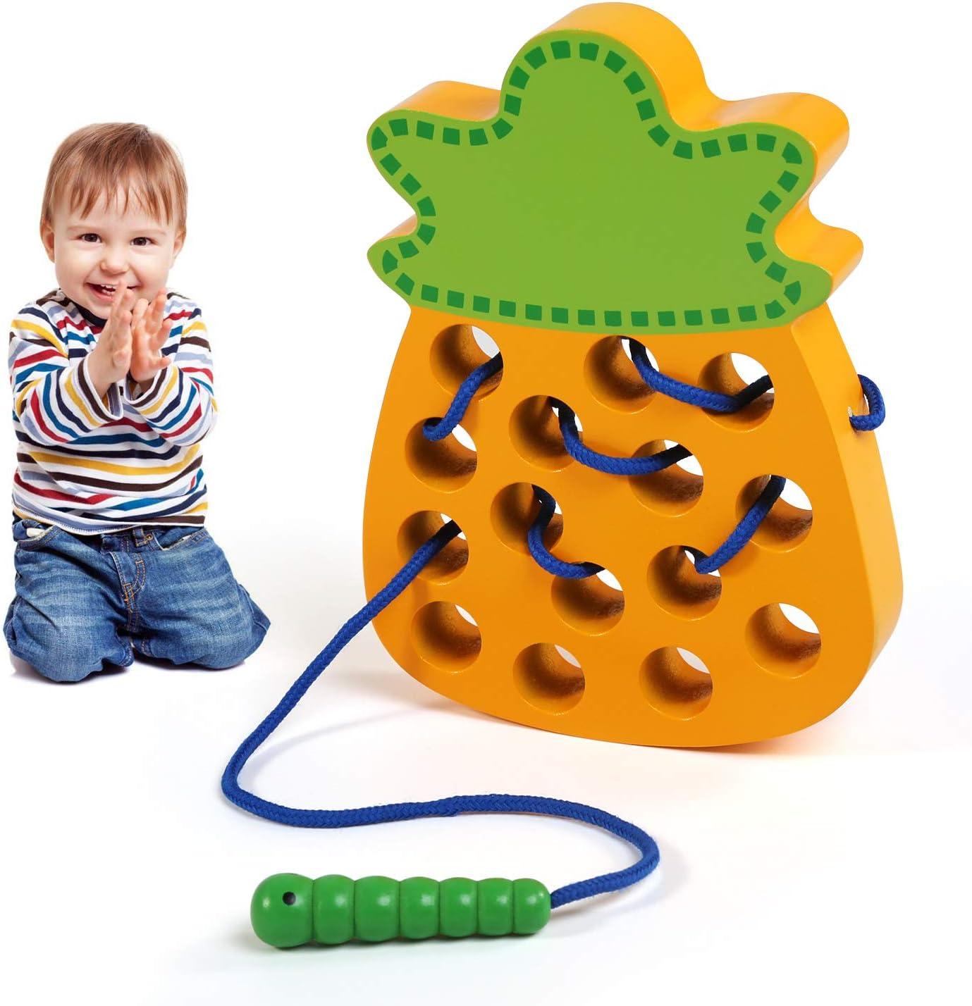 LEADSTAR Montessori Activity Wooden Toy, Cordón Madera Juguetes Educativos, Aprendizaje Temprano Bloque Rompecabezas de Bebe, Juegos de Roscar Regalo para Niños Niñas, Relajantes Toys de Viaje (Piña)