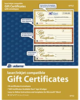 amazon com adams 1 part gift certificates with stub 3 1 4 x 7 13