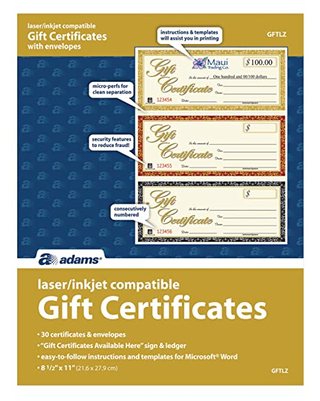 Adams Gift Certificates, Laser/Inkjet Compatible, 3-Up, 30 per Pack with  Envelopes (GFTLZ)