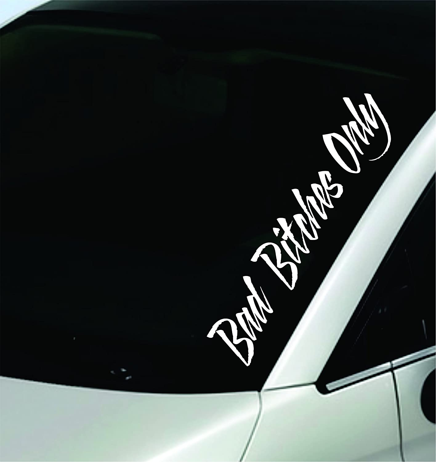 Amazon com dabbledown decals bad bitches only large version car window windshield banner lettering decal sticker decals stickers girl jdm drift home