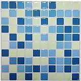 Piastrelle adesive, in 3D, gel effetto mosaico, autoadesivo, protezione dagli spruzzi, per cucina/bagno (10 pz)