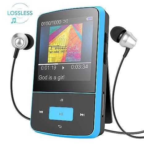 Mini Clip 8GB MP3 Player mit Silikon Hülle Tragbare 24 Stunden Wiedergabe Musik Player mit FM, von AGPTEK G05, Blau