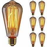 KINGSO 6x Vintage lampadina con gabbia filamento, 60W Dimmerabile Edison Lampadina Retro Stile Incandescente Vite E27