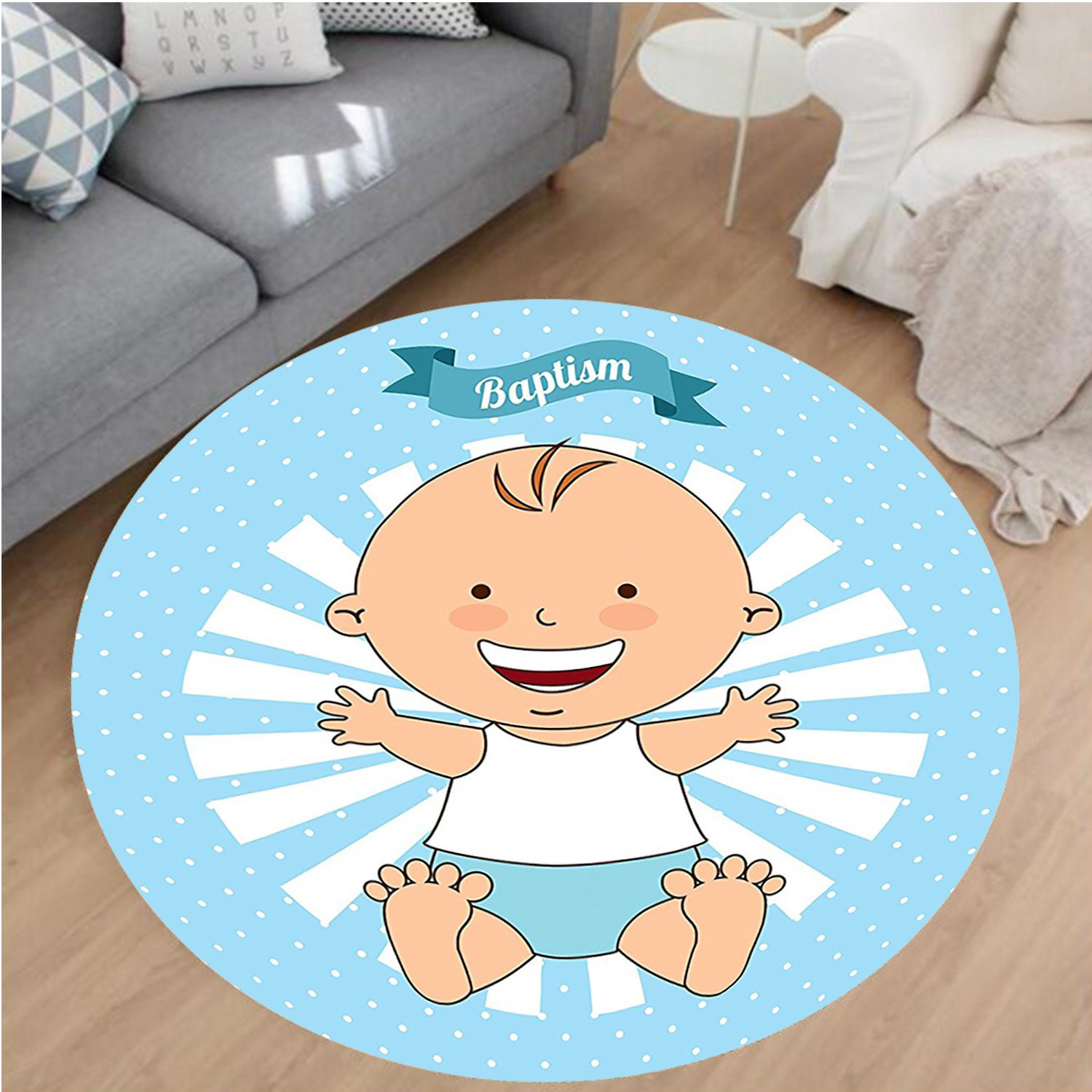 Nalahome Modern Flannel Microfiber Non-Slip Machine Washable Round Area Rug-Baptism Design Happy Boy Christening Striped Dotted Background Christian Religion Theme area rugs Home Decor-Round 67'' by Nalahome