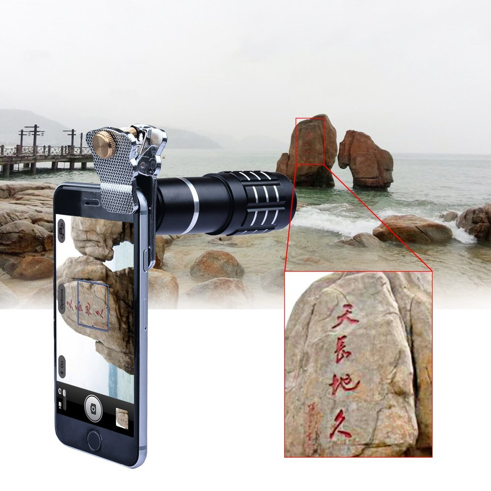 Apexel 12x Manual Focus Telephoto Camera Lens Kit with Mini Tripod and Universal Clip for Smartphone - Black