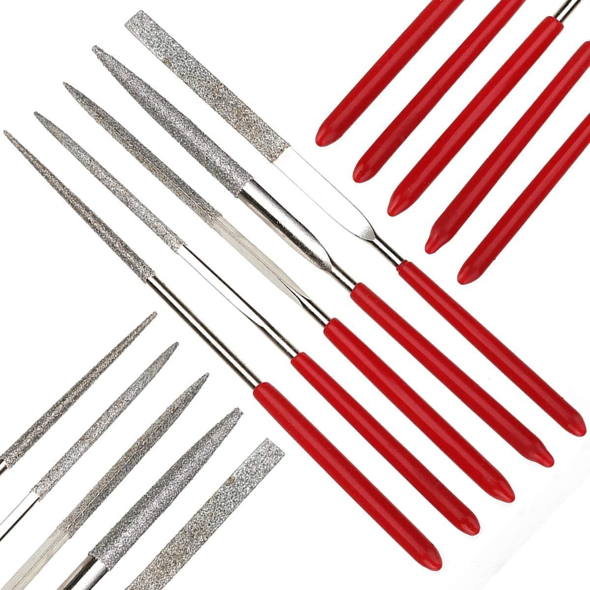 Wang shufang WSF-Adapters 5pcs 140mm Mini Metal Needle File Set Multi Glass Stone Wood Carving Cutting Files Diamond Needle File DIY Woodworking Hand Tool