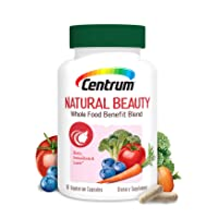 Centrum Natural Beauty Biotin and Vitamin E Supports Healthy Appearance with Whole Food Blend, 60 Day Supply(60 Capsules)