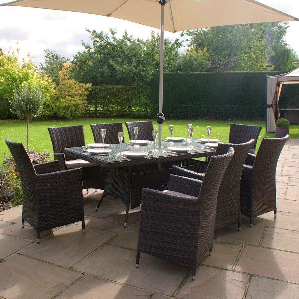Maze Rattan La 8-Sitzer Garten Rechteckig Gartenmöbel Set braun–INC Kostenloser Sonnenschirm