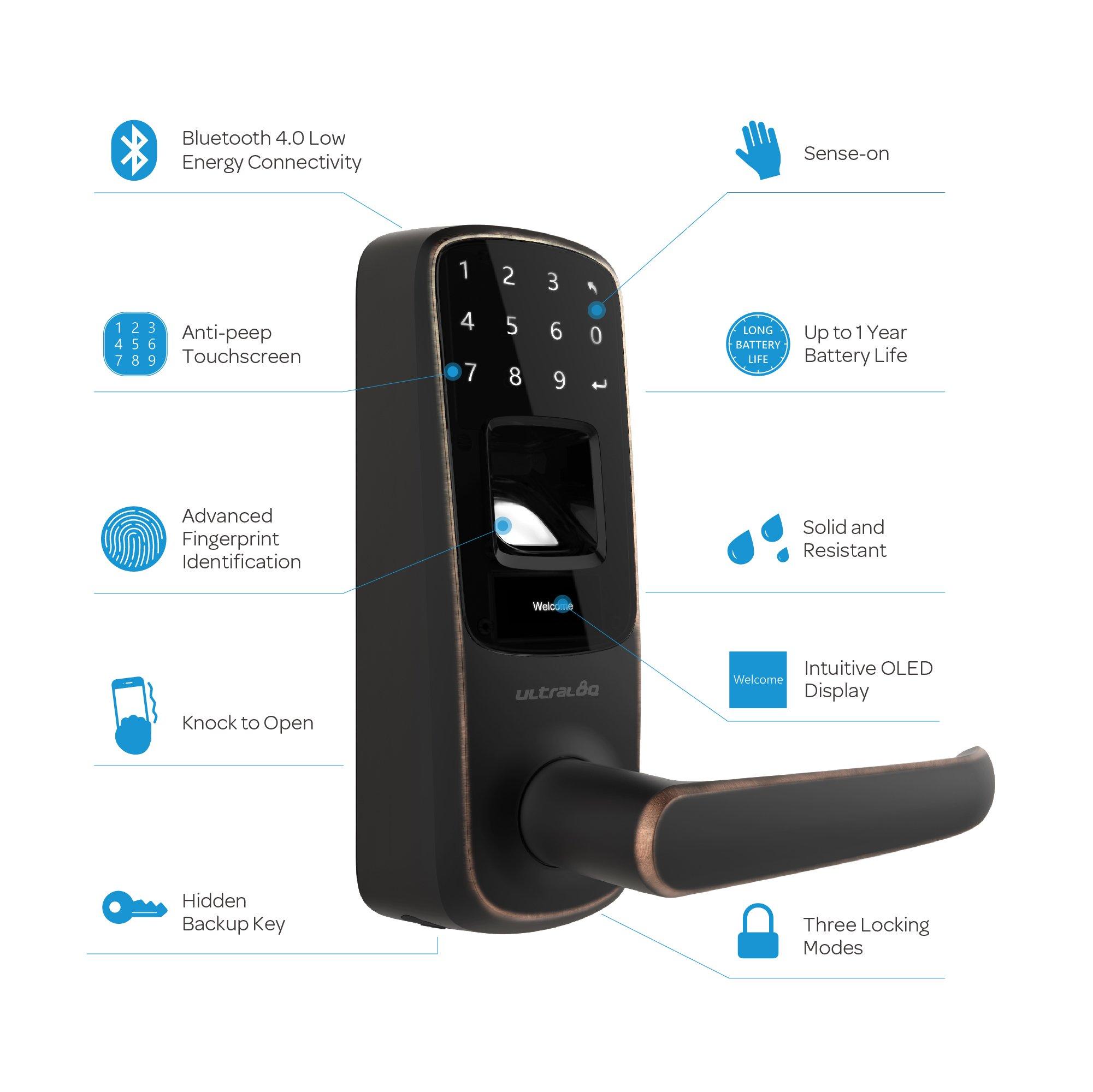 Ultraloq UL3 BT Bluetooth Enabled Fingerprint and Touchscreen Smart Lock (Aged Bronze) by Ultraloq (Image #7)
