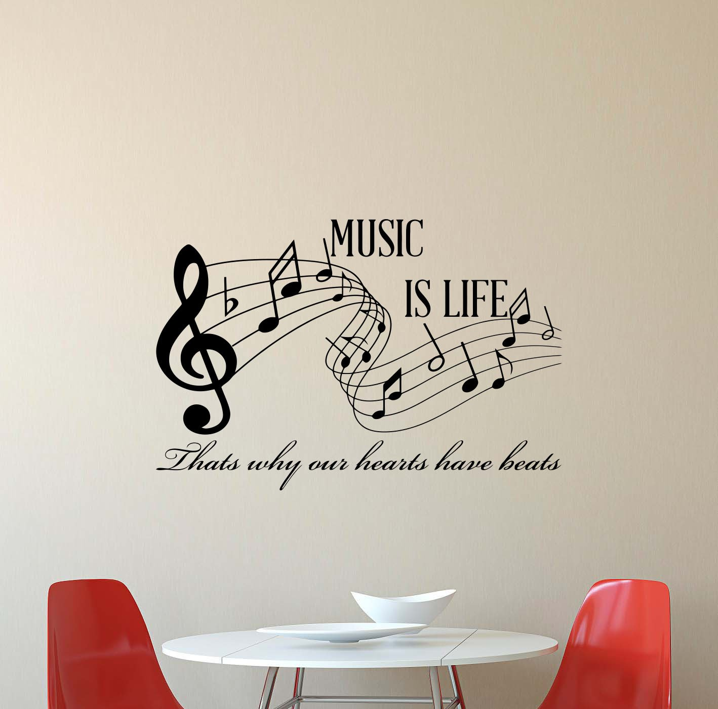 Music is life wall decal thats why our hearts have beats musical notes music lover gift quote lettering vinyl sticker boy girl teens kids home bedroom