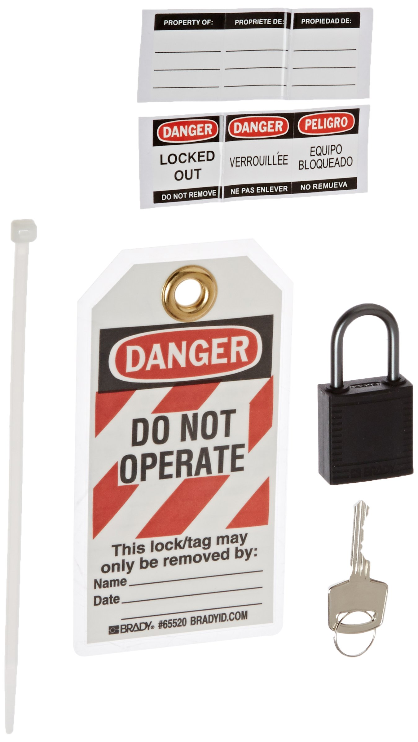 Brady 123151 Black Compact Lock Personal Kit, Black