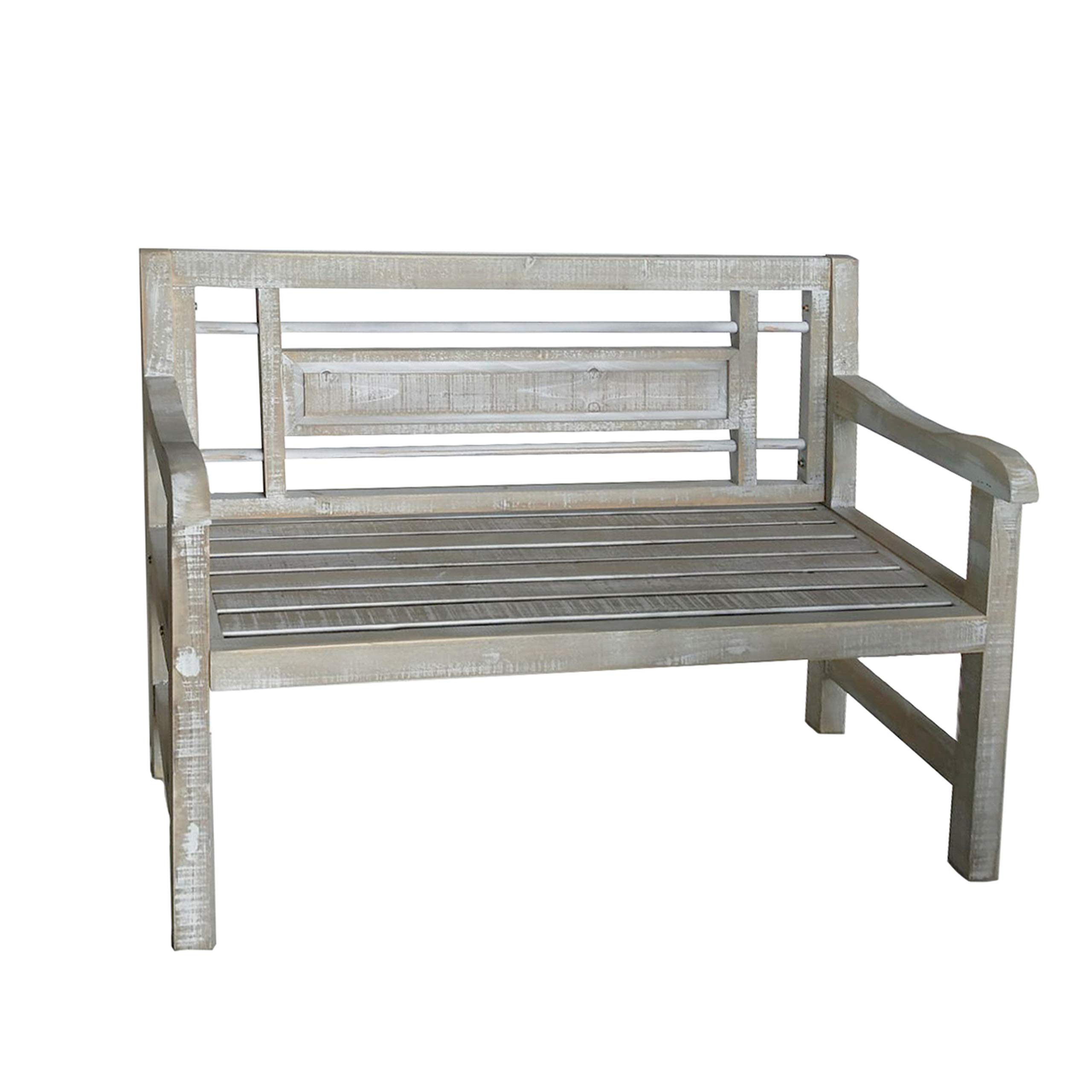 Benjara BM188049 Wooden Bench with Geometric Back and Slatted Seat, Gray