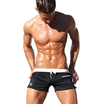 cdbdda2f4f Image Unavailable. Image not available for. Color: SUNVP Men's Swimming  Boxer Shorts Solid Color Swimwear with Pocket and Drawstring
