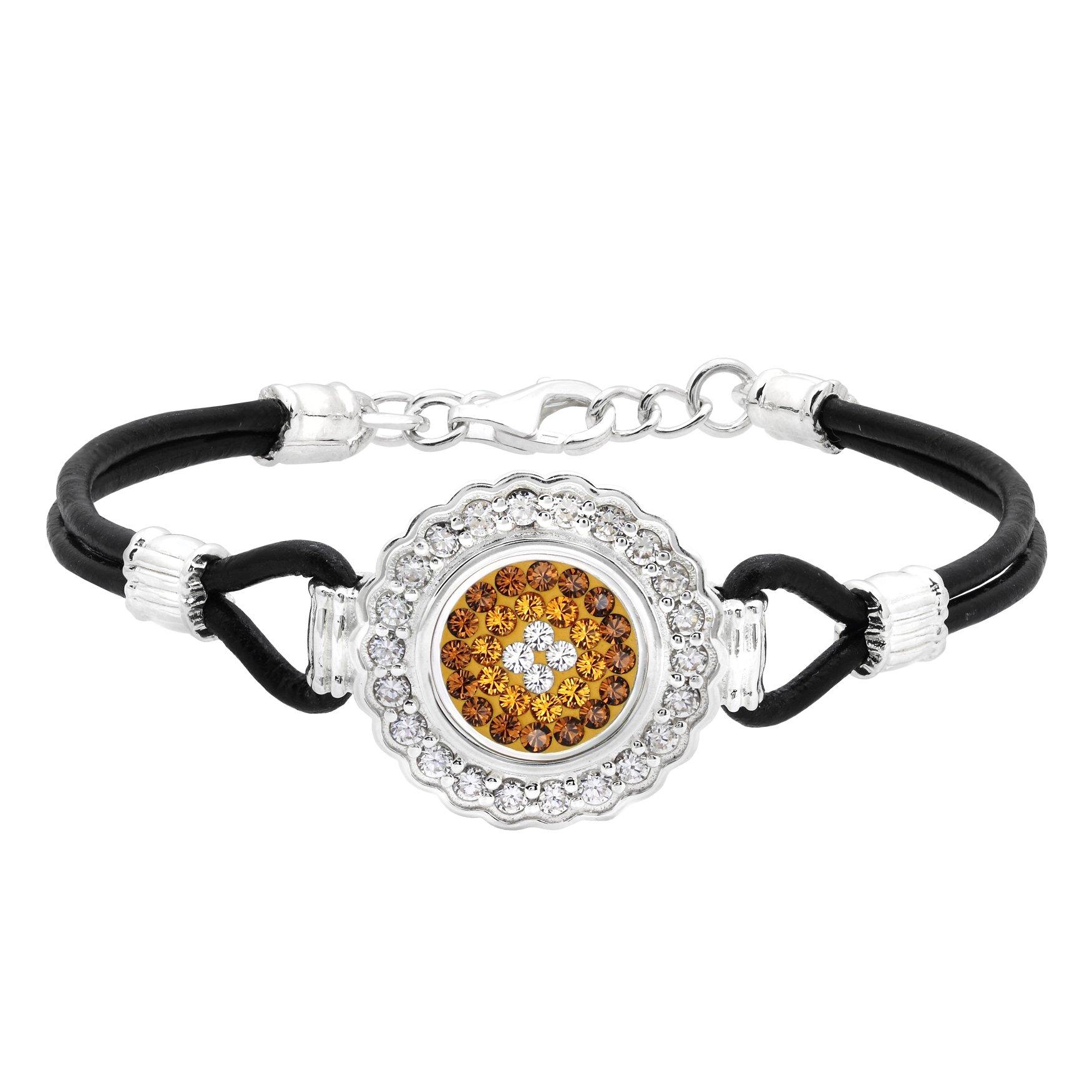 Kameleon Jewelry Sterling Silver Scalloped Leather Bracelet KBR004