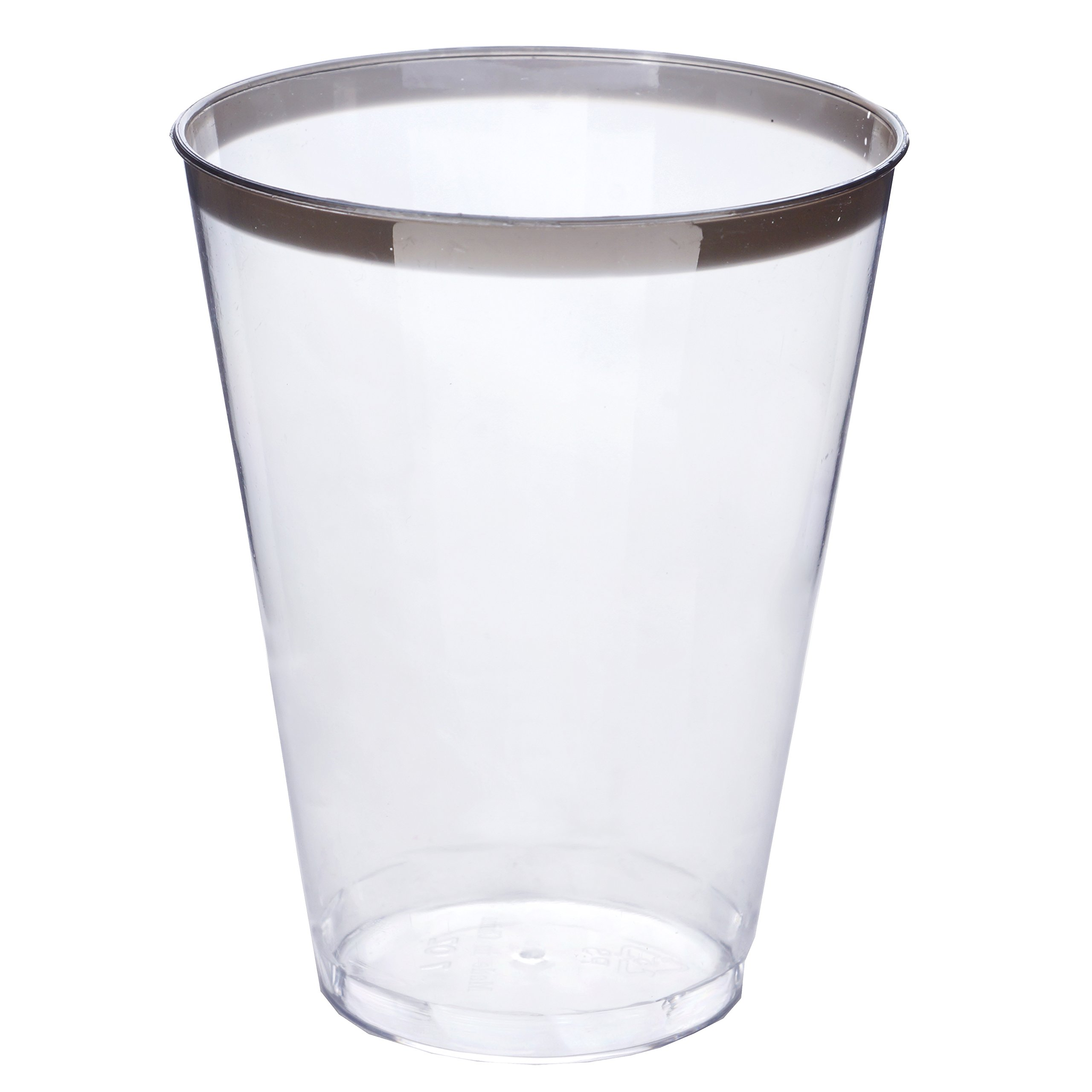 Efavormart 60 Pcs - Silver Rimmed 7oz Disposable Plastic Cup Glassware for Wedding Catering Birthday Party Banquet Events