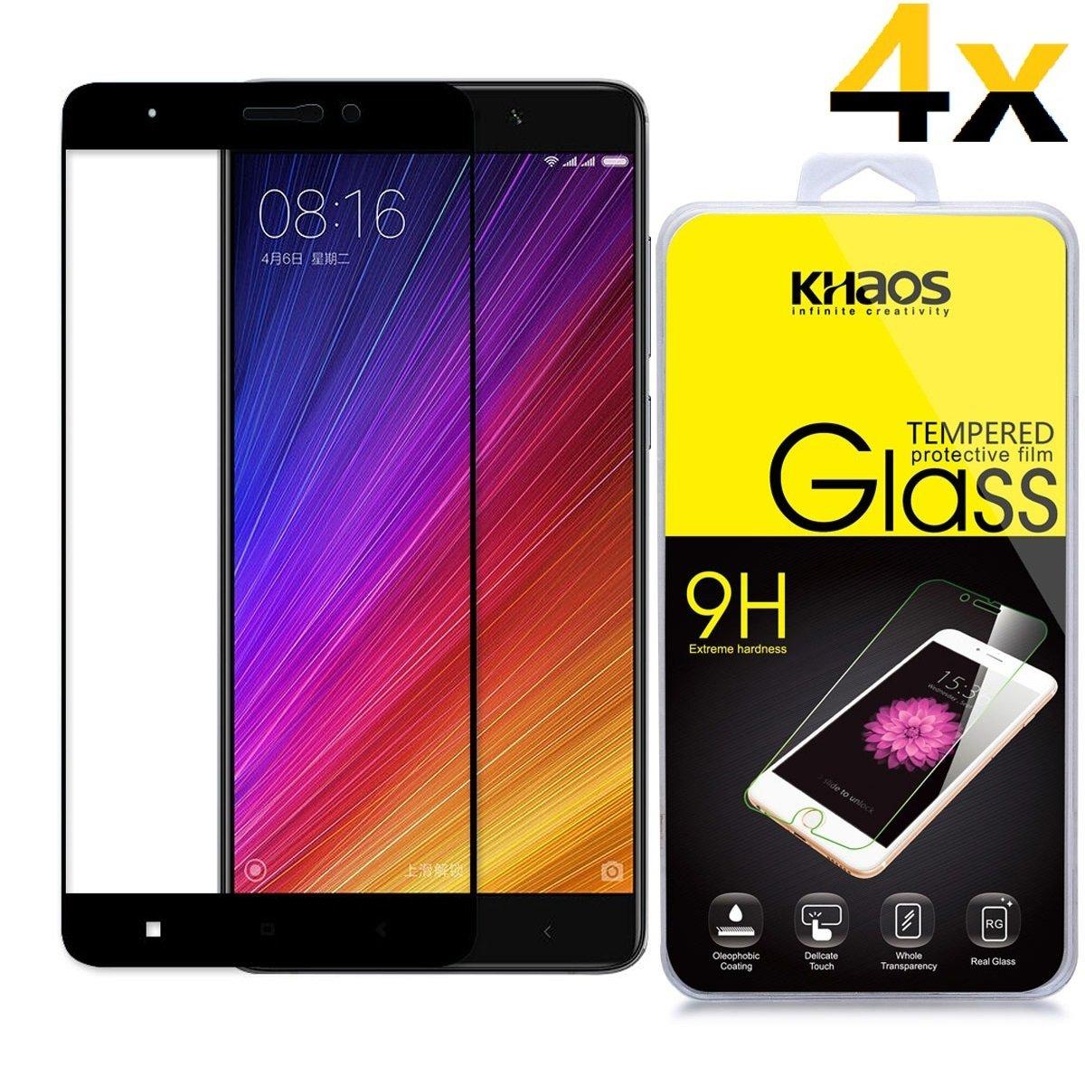 4 Pack Khaos For Xiaomi Mi 5s Plus Tempered Glass Full Screen Cover Mi5s White Protector Black Anti Fingerprint Bubble Freelifetime Replacement