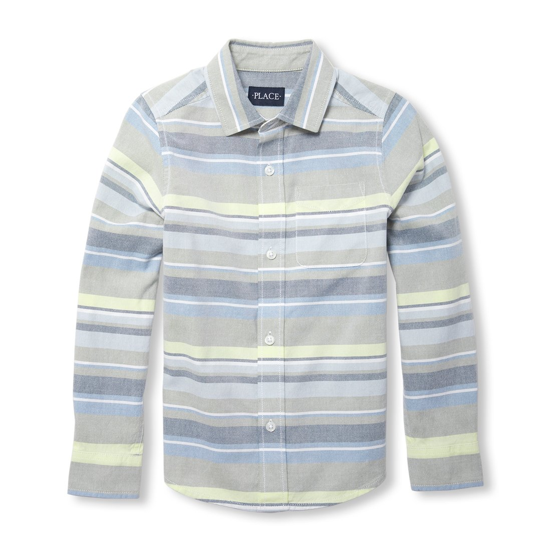 The Children's Place Big Boys' Striped Long Sleeve Button Down Shirt