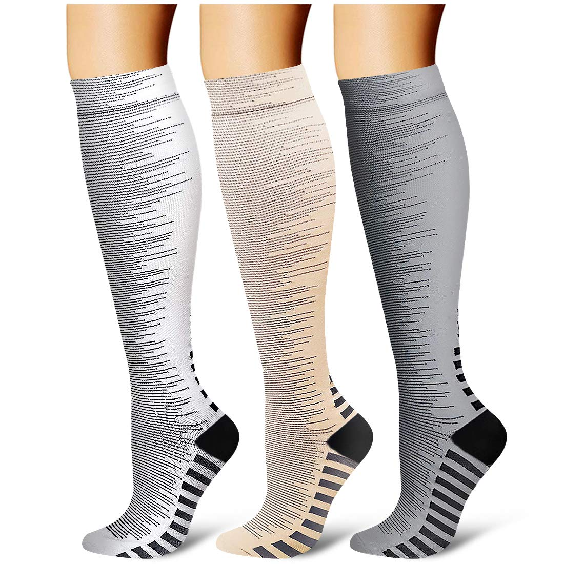 Compression Socks,(3 Pairs) Compression Sock Women & Men - Best Running, Athletic Sports, Crossfit, Flight Travel (Multti-colors26, Large/X-Large) by Laite Hebe