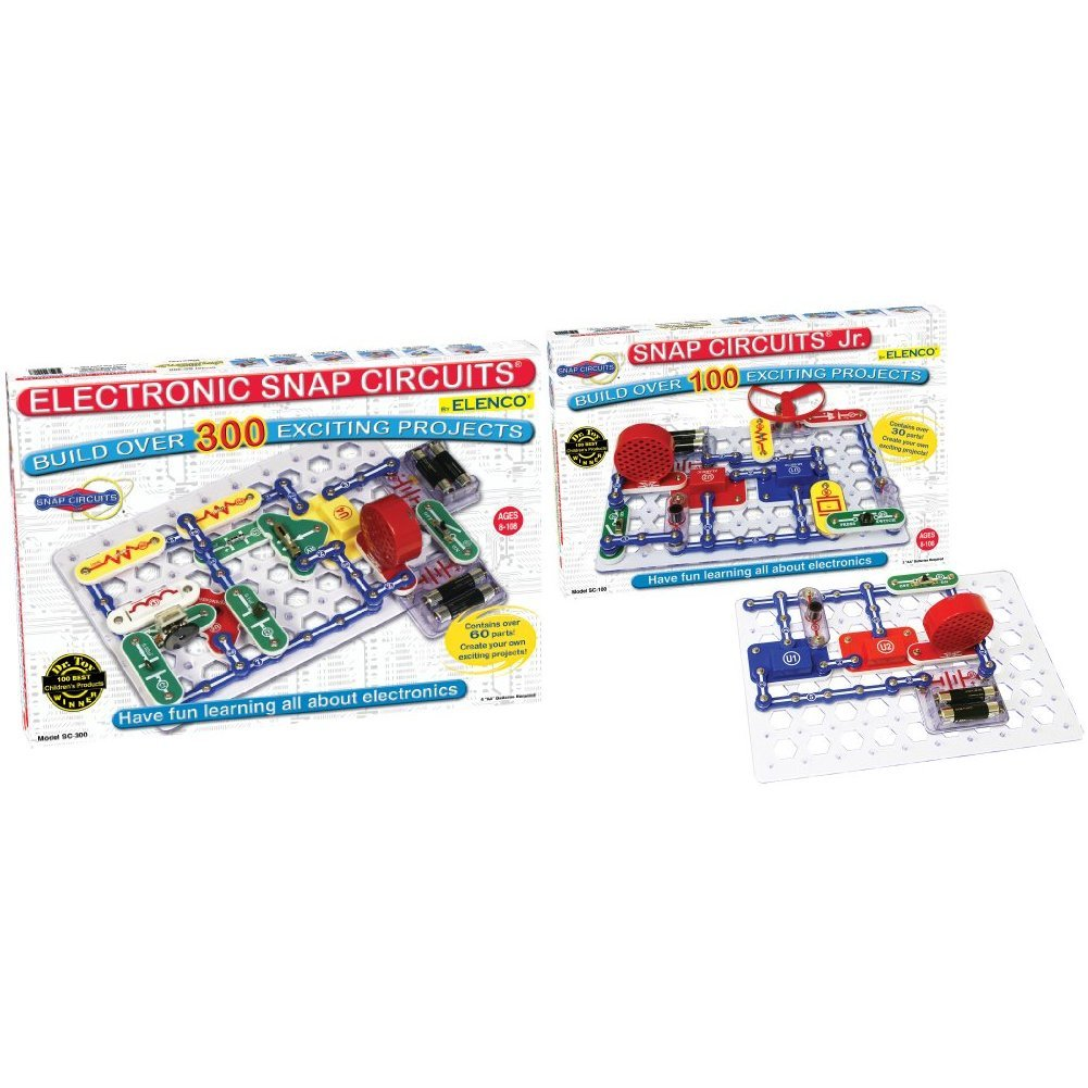 Snap Circuits SC-300 Electronics Discovery Kit with Snap Circuits Jr. SC-100 Electronics Discovery Kit Bundle