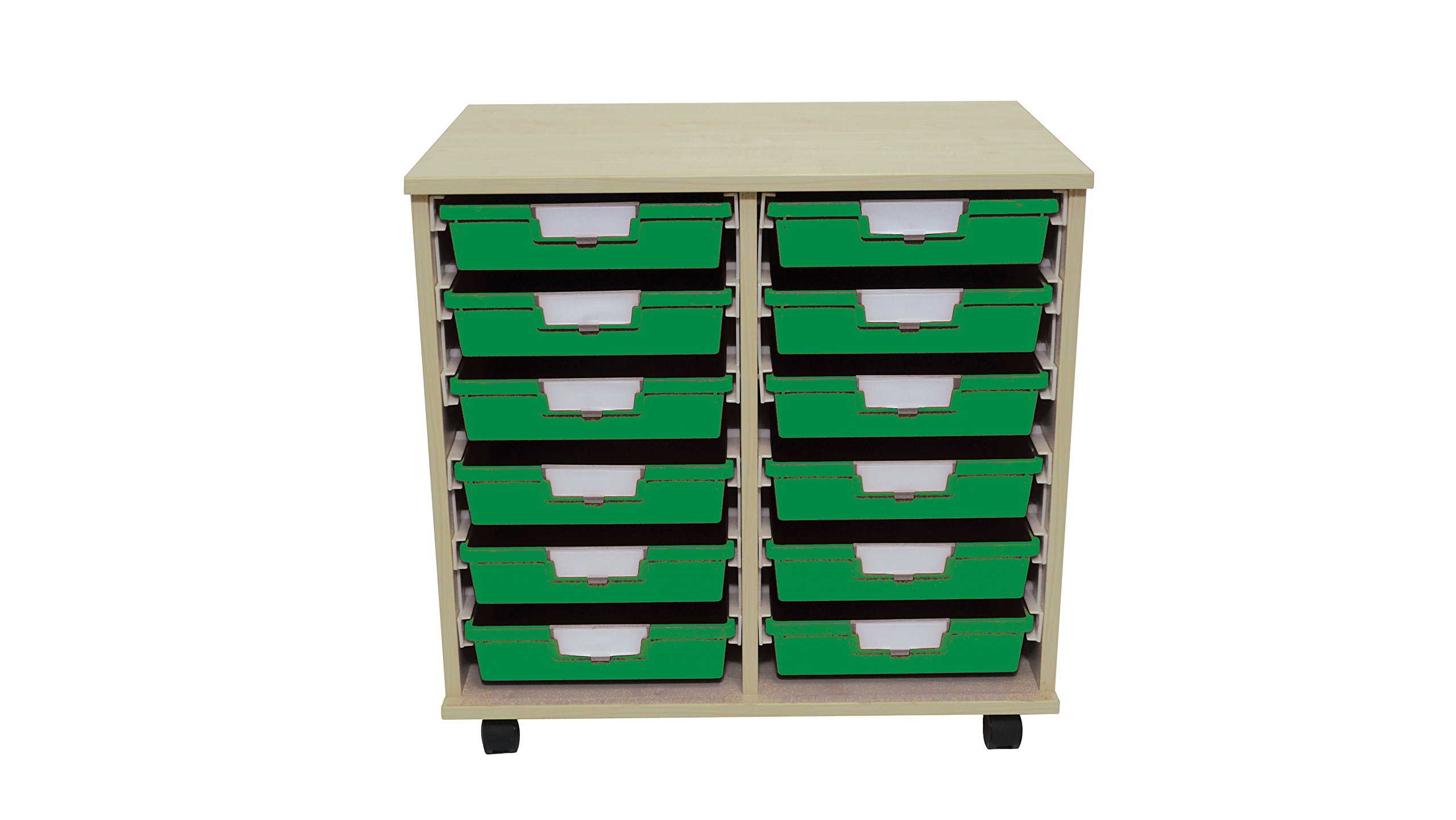 Swift 'Slim Line' Wood Cart 12 Tray Green