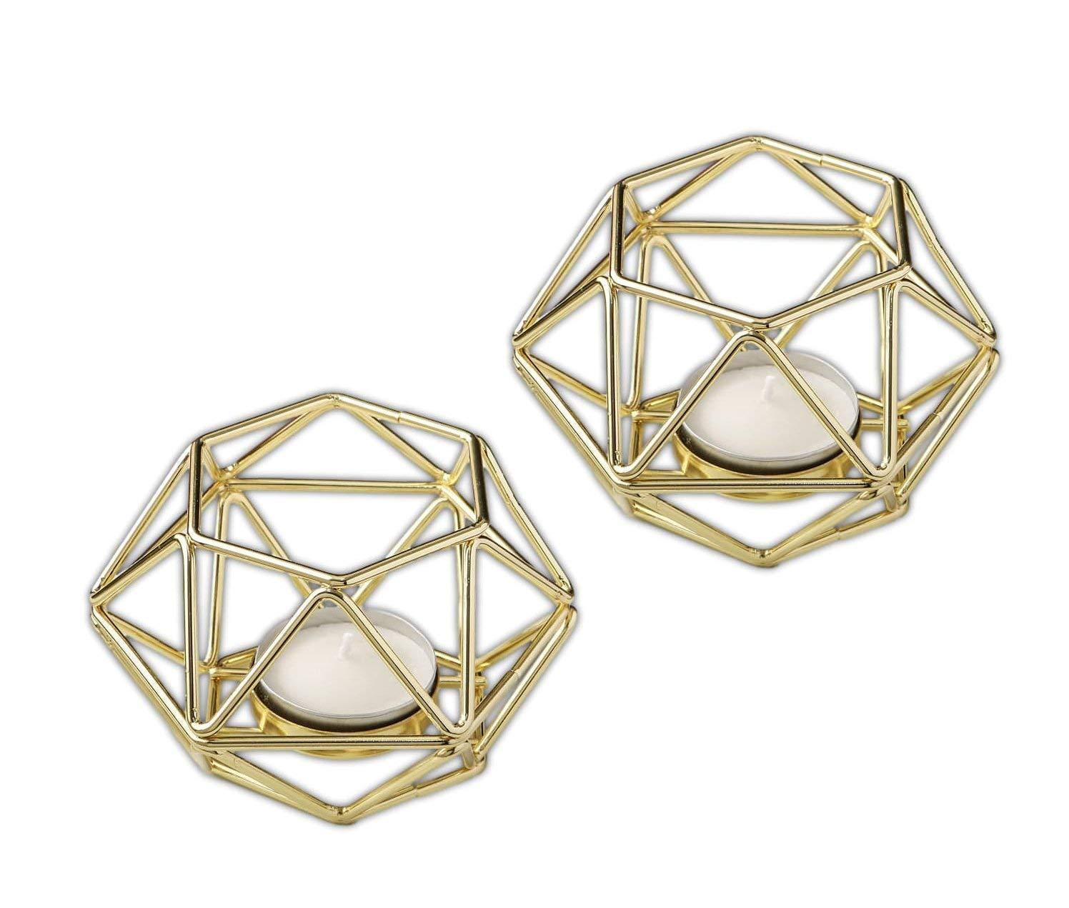 13 Fashioncraft 4'' x 2 1/2'' Metal Gold Hexagon Shaped Geometric Design Tea Light Votive Candle Holder Wedding Bridal Shower Anniversary Favors