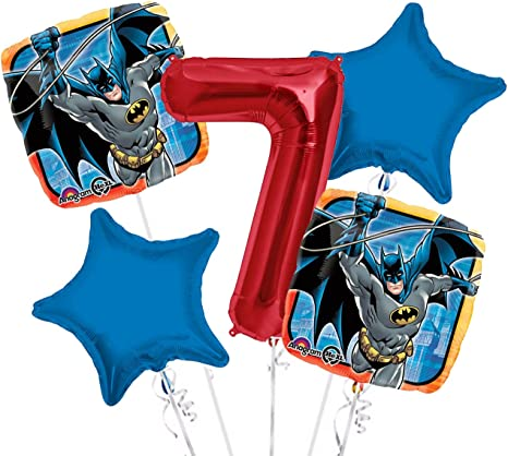 Batman 5pc Bouquet Birthday Party Foil Balloons Decorations