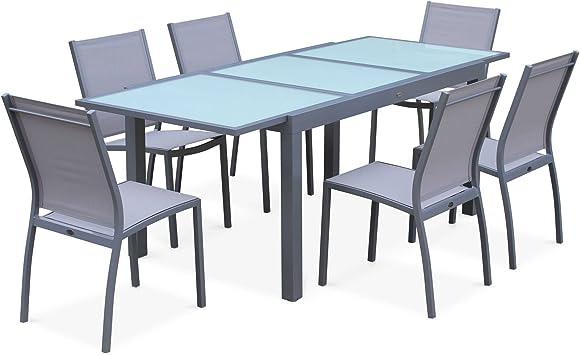 Salon de Jardin Table Extensible - Orlando Gris Clair - Table en Aluminium  150/210cm, Plateau de Verre, rallonge et 6 chaises en textilène