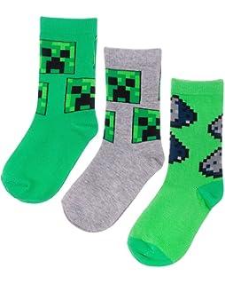Kids 6-3 UK Minecraft Original Childrens Boys Girls Crew Socks Cool Creeper Theme 3-PACK Set Sizes