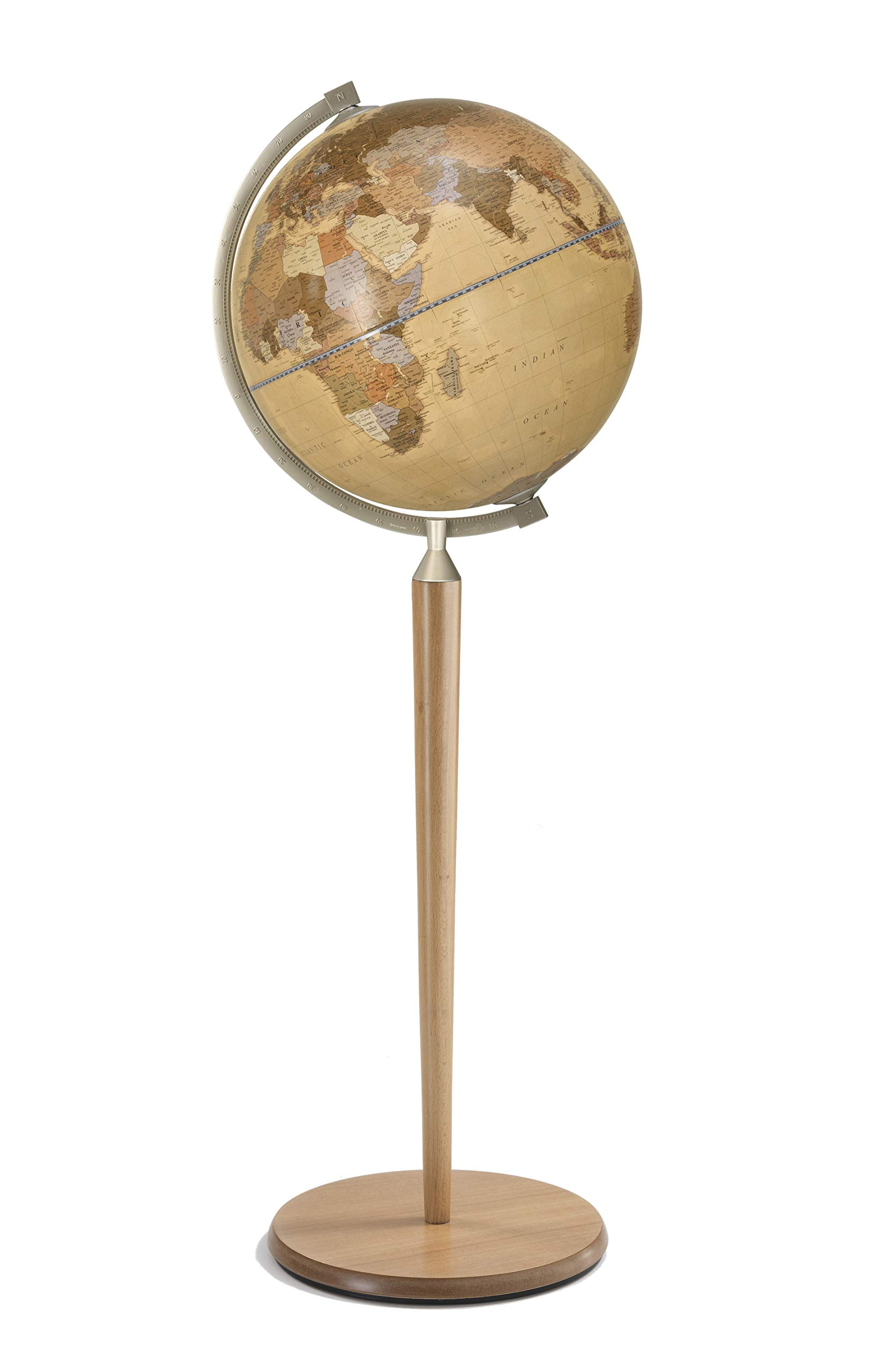Zoffoli 16'' Vasco da Gama Floor Globe (Natural Stand with Apricot Ocean) by Zoffoli Globes USA (Image #1)